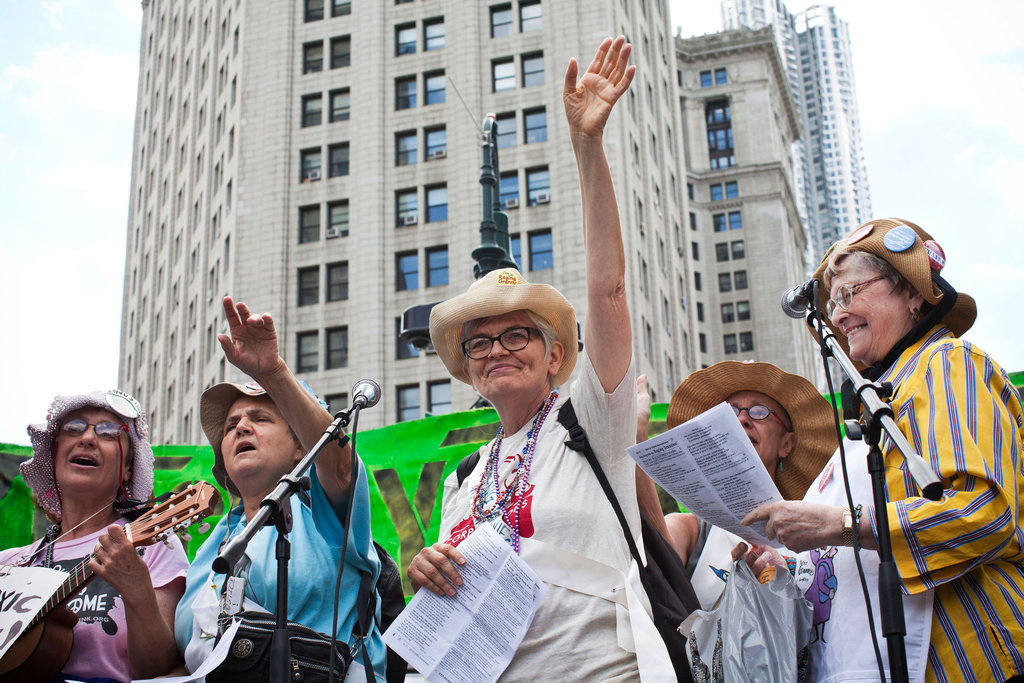 An Occupy music group, the Raging Grannies, performed in NYC for the one-year anniversary.