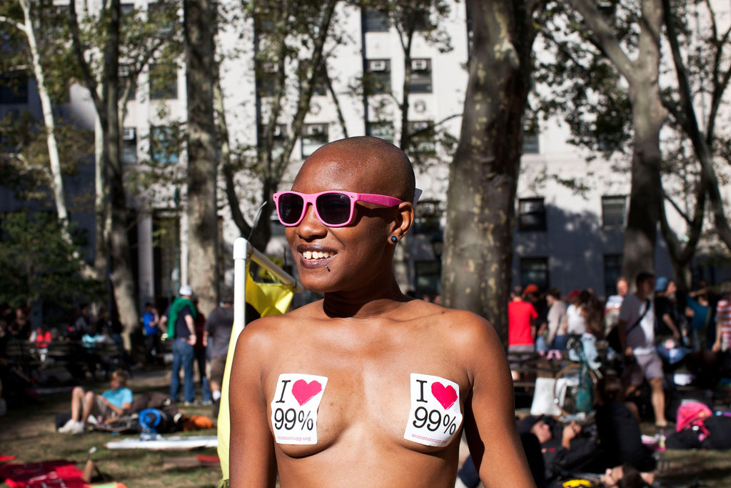 This Occupy protestor wore stickers in support of the 99 percent instead of a shirt during an NYC rally.