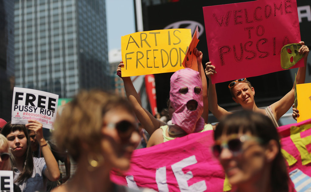 Pussy Riot supporters were joined by Occupy Wall Streeters for a protest in NYC's Times Square.
