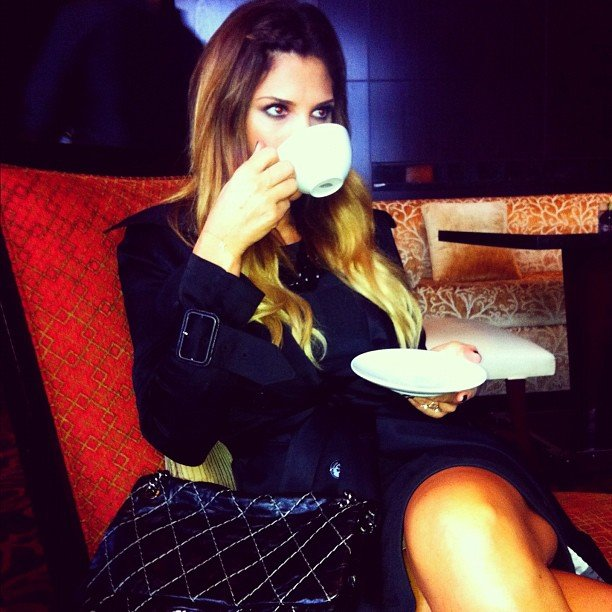 Daisy Fuentes fashionably sipped a cup of tea. Source: Instagram user daisyfuentes