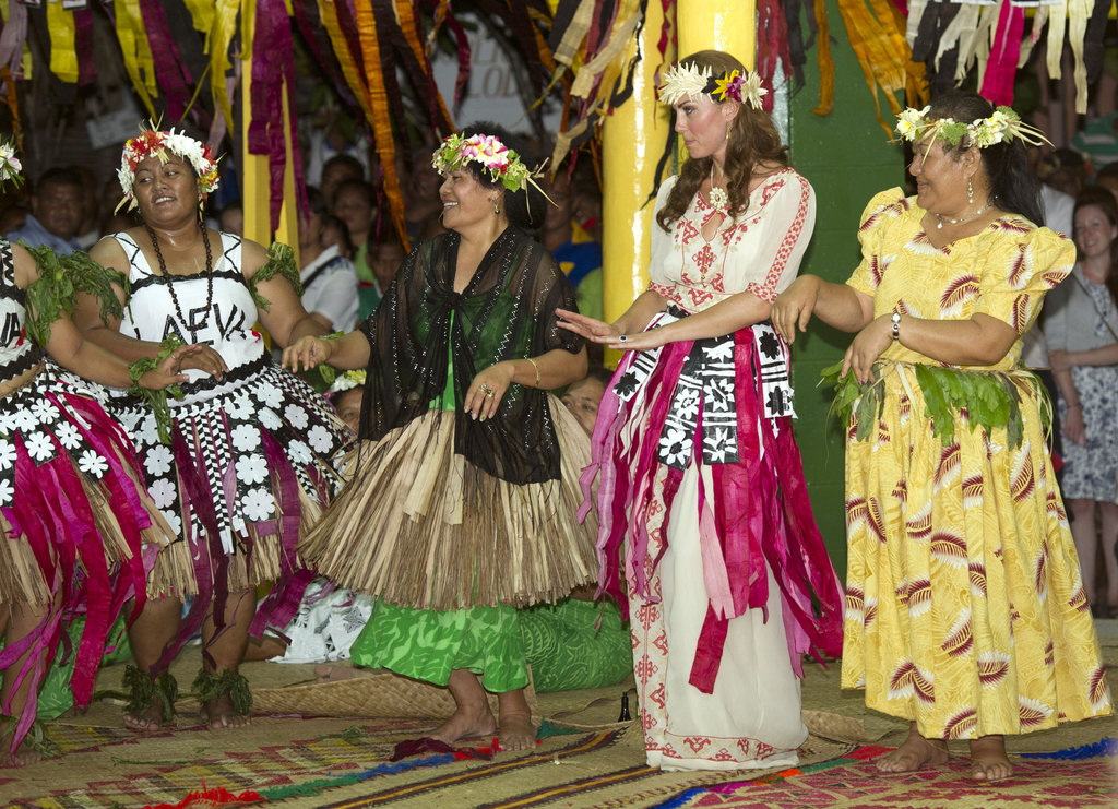 Kate Middleton joined in the dancing lead by the women of Tuvalu.