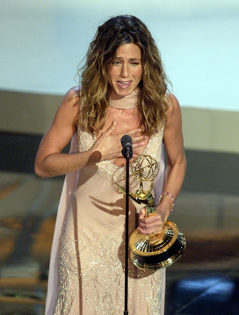 Jennifer Aniston emotionally accepted her award in 2002.