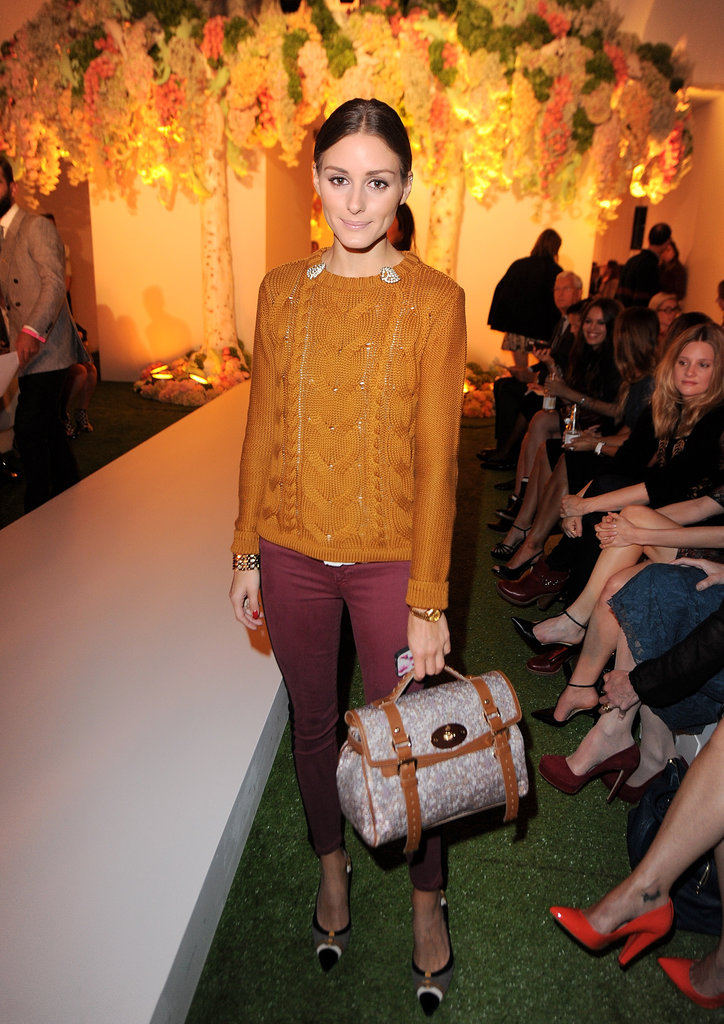 Olivia Palermo attended the Mulberry show during London Fashion Week.