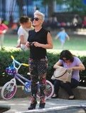 Pink snapped pictures of her family.