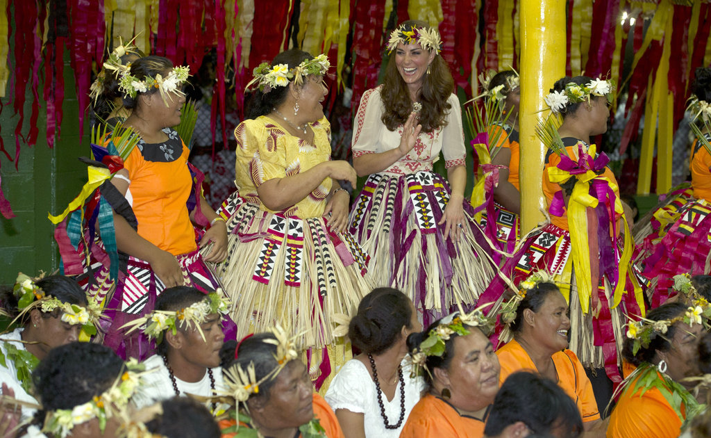 Kate Middleton joined the other ladies for a dance in Tuvalu.