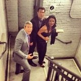 Andy Cohen got caught evacuating the Bravo Clubhouse in the stairwell with Jeff Lewis and Jenni Pulos. Source: Instagram user bravoandy