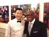 Singing sensation Psy met X Factor judge LA Reid backstage at a taping of The Ellen DeGeneres Show. Source: Twitter user psy_oppa