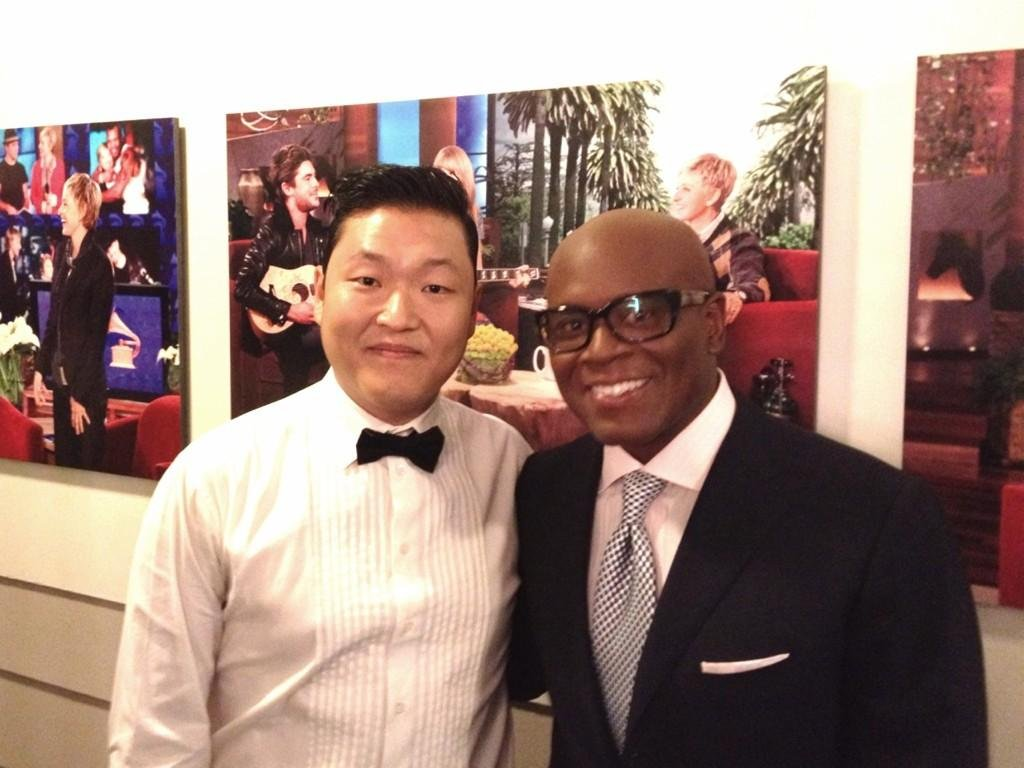 Singing sensation Psy met X Factor judge L.A. Reid backstage at a taping of The Ellen DeGeneres Show. Source: Twitter user psy_oppa