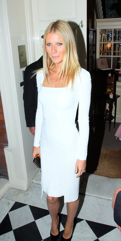 Gwyneth Paltrow looked stunning in a white Tom Ford dress to cohost the Obama Victory Fund dinner held at Mark's Club in London.