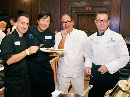 Chef Marc Forgione, chef Ming Tsai, chef Masaharu Morimoto, and Matt Damon were together in NYC.