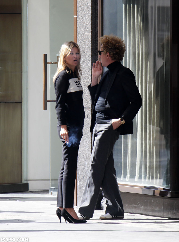 Kate Moss and James Brown chatted in London.
