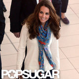 Kate Middleton wore a scarf and sweater to travel back to London.