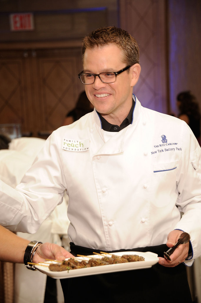 Matt Damon wore a chef's jacket.