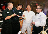 Chef Marc Forgione, chef Ming Tsai, chef Masaharu Morimoto, and Matt Damon did a cooking demo in NYC.
