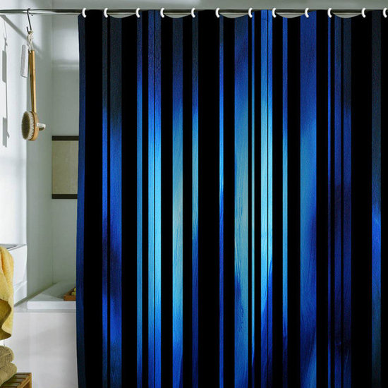 DENY Designs Madart, Inc. 'Black Stripes Blue Passion' Shower Curtain