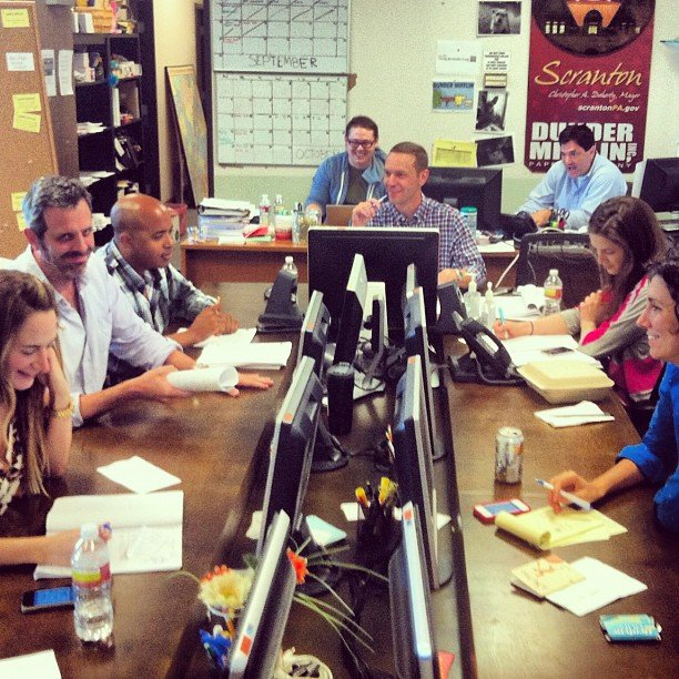 Angela Kinsey took a candid shot of the writers room at The Office. Source: Instagram user angekinz