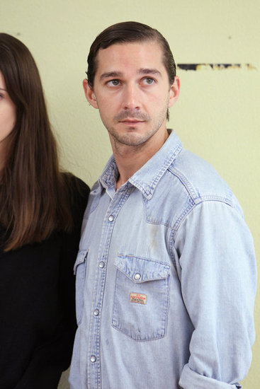 Shia LaBeouf showed off his slicked-back hair.
