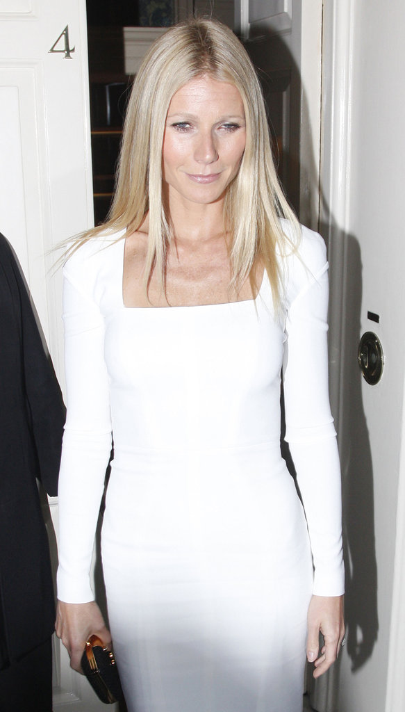 Gwyneth Paltrow wore a white Tom Ford dress in London.
