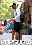 Liev Schreiber gave son Sasha a spin in NYC.