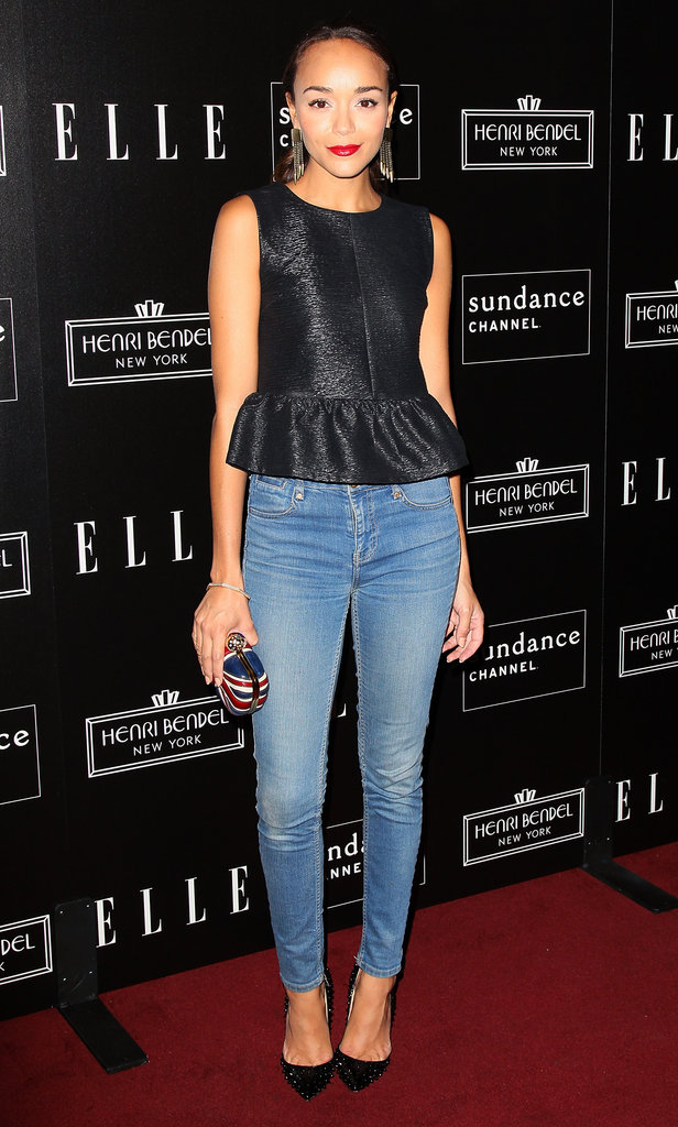 Ashley Madekwe wore a peplum top with denim to attend the bash celebrating Joe Zee.