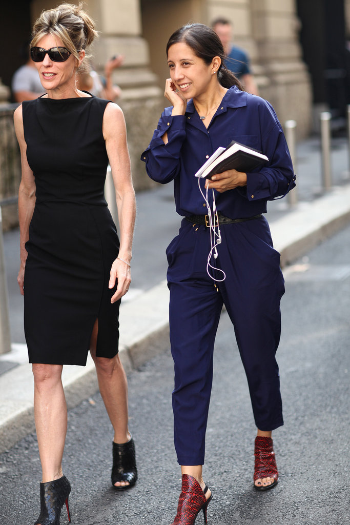 Robbie Myers worked an LBD, while her companion opted for an understated navy jumpsuit and exotic Balenciaga heels. Source: Greg Kessler