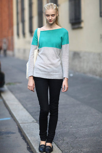 Her colorblocked sweater dressed up a pair of basic black skinnies. Source: Greg Kessler