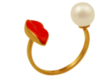 Delfina Delettrez Red Mouth and Pearl Ring ($595)