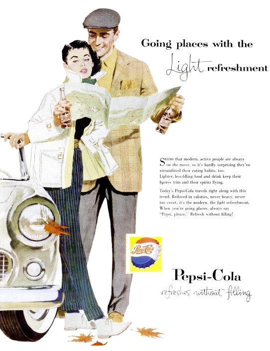 "For people ""always on the move,"" grab a ""light refreshment"" . . . you know, like a sugary, caffeinated, carbonated soda."