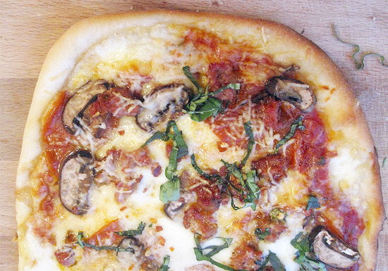 Pepperoni, Mushroom, and Sausage Pizza