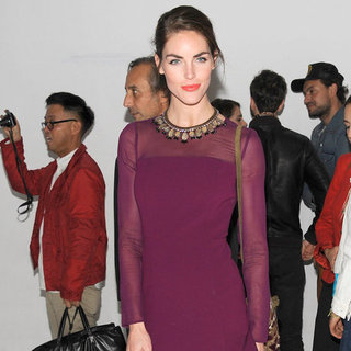 Hilary Rhoda Wearing Sheer Purple Dress
