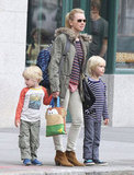 Naomi Watts waited on the curb with her sons, Kai Schreiber and Sasha Schreiber.