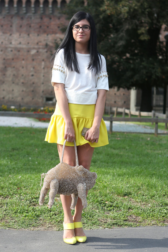 The boldest of accessories and a sweet lemon skirt teamed up in this quirky ensemble.