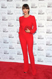 Tamara Mellon went all red in a jumpsuit, clutch, and bold lip to finish.