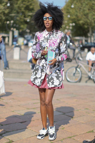 Julia Sarr-Jamois worked a bold floral print and an awesome pair of kicks.