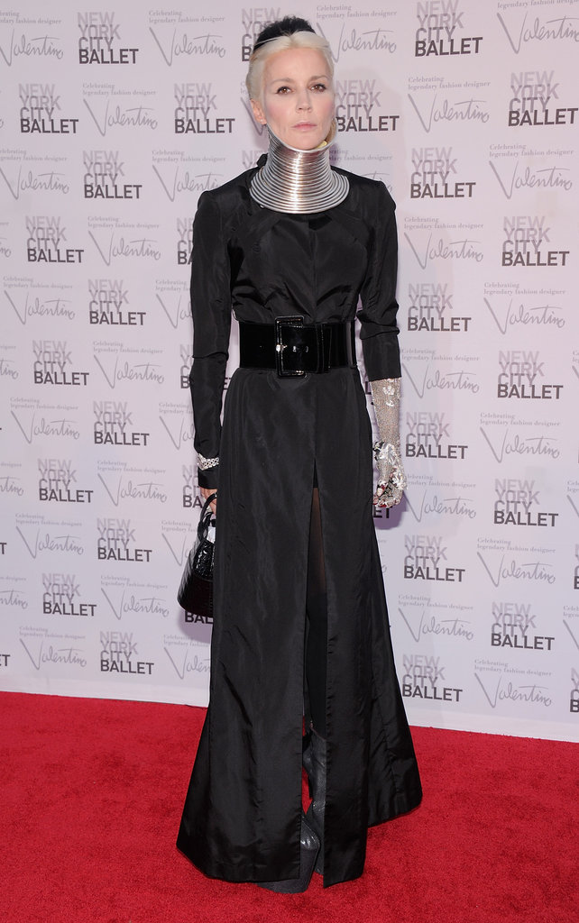 Daphne Guinness wore a black long-sleeved gown with an eccentric silver neckpiece — thoughts?