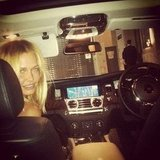 Lara Bingle took her place in the passenger's seat. Source: Instagram user mslbingle