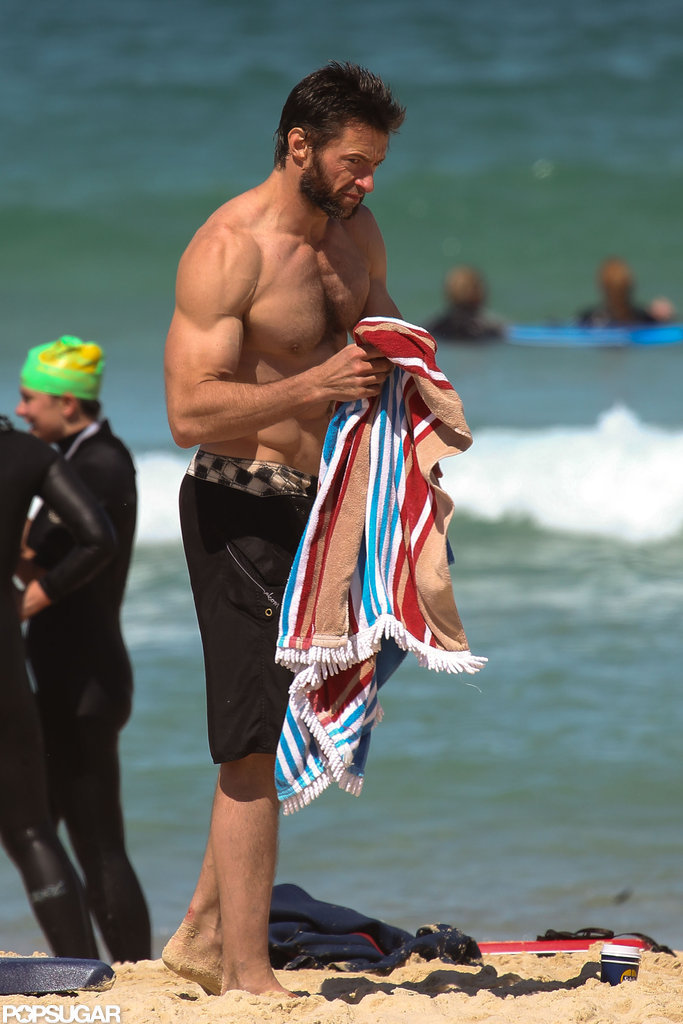 Hugh Jackman showed off his muscular physique during a beach day in Sydney this September.