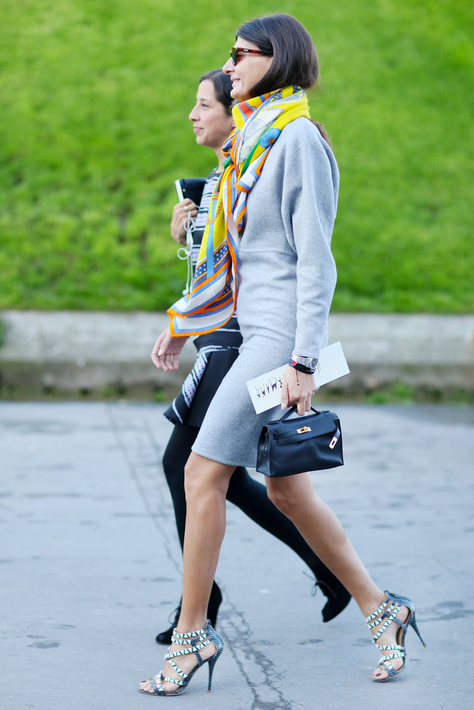 Sexy heels and a rainbow-colored scarf emboldened this gray look.