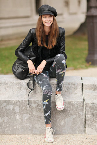 Cheeky leggings gave a playful contrast to leather.