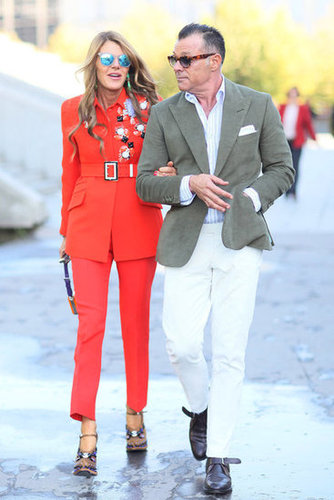 Anna Dello Russo played it bold in head-to-toe tangerine.