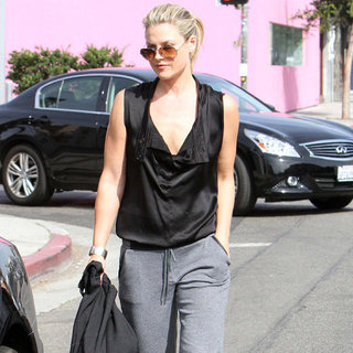 Ali Larter Wearing Gray Sweatpants With Heels