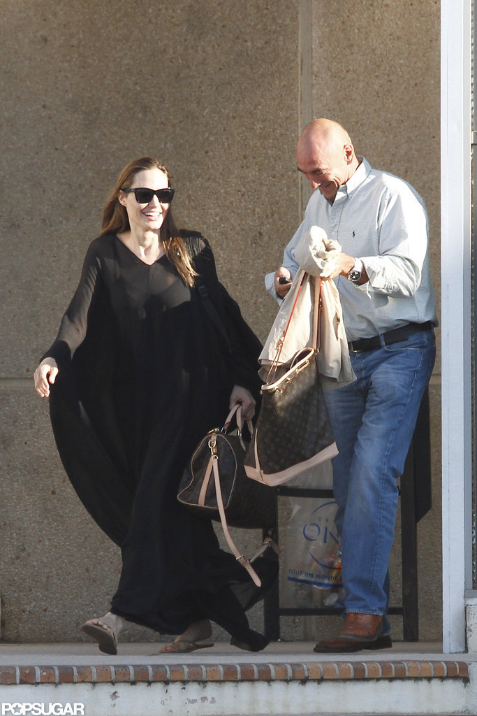 Angelina Jolie wore a black gown.