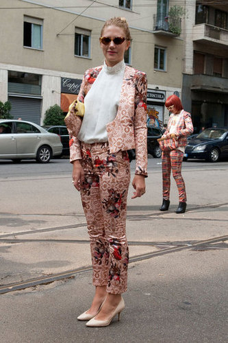 A floral pantsuit worth coveting, and we'll take the nude pumps, too. Source: IMAXtree