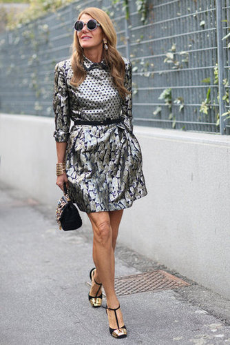 Anna Dello Russo put a silver metallic spin on her daytime dress style. Source: Greg Kessler