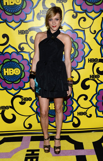 Chloe Sevigny chose a halter-style LBD and '70s-feeling metallic platforms for the afterparty.