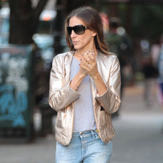 Sarah Jessica Parker Wearing Gold Jacket
