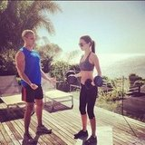Miranda Kerr worked out with her trainer. Source: Instagram user mirandakerrverified