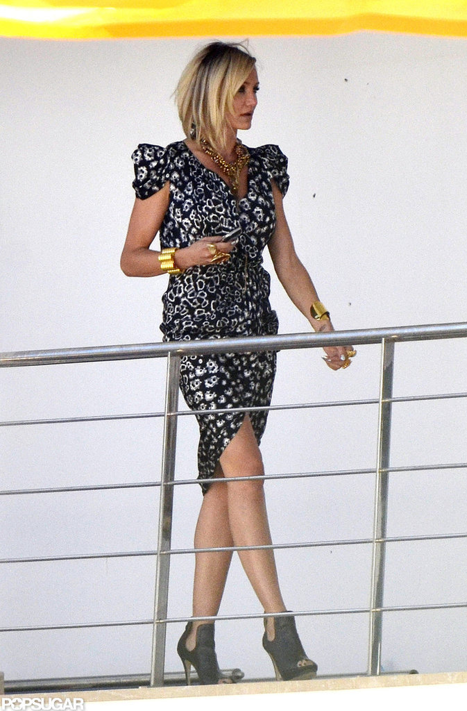 Cameron Diaz wore a printed dress to film The Counselor in Spain.