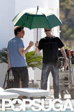 Javier Bardem used an umbrella to shade him from the sun on the set of The Counselor in Spain.