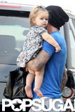 Harper Beckham wore a printed dress.